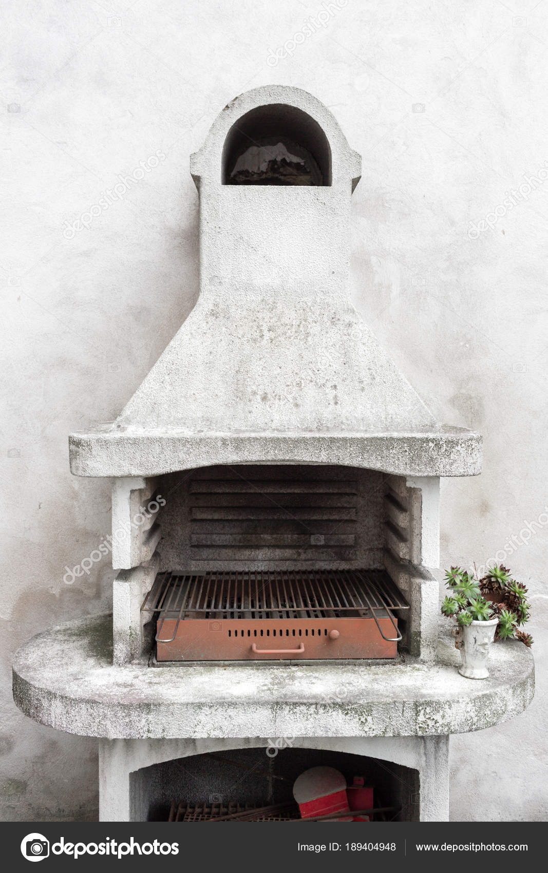 Smoky Antique Brick Oven Outdoor With Ashes Inside Old Garden