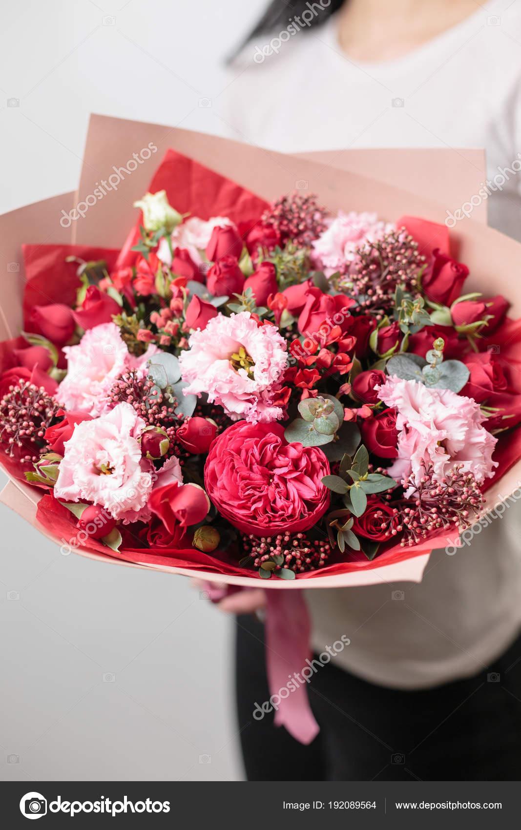 Bouquet of beautiful flowers in womens hands floristry concept bouquet of beautiful flowers in womens hands floristry concept spring colors the work izmirmasajfo
