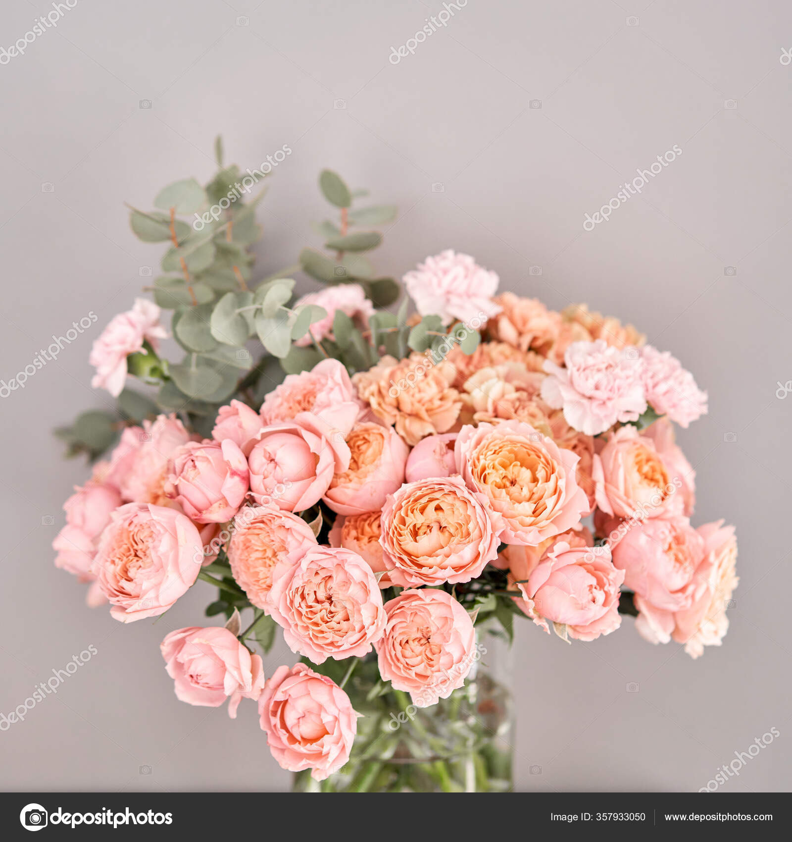 Flowers In Glass Vase On Wooden Table Fresh Cut Flowers For Decoration Home Delivery Flower Stock Photo Image By Malkovkosta 357933050