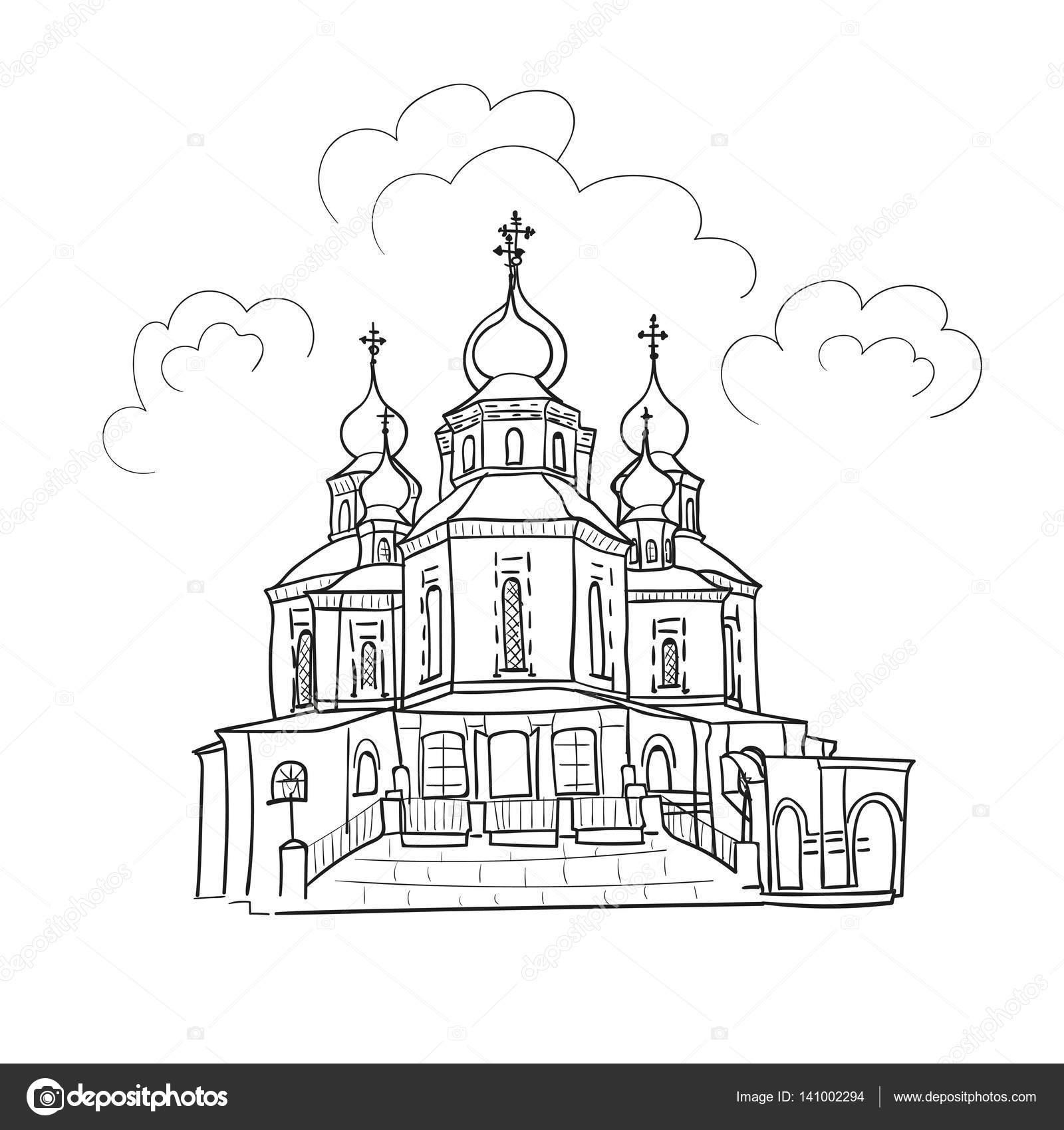 Skizze der Kirche — Stockvektor © Afanasia #141002294