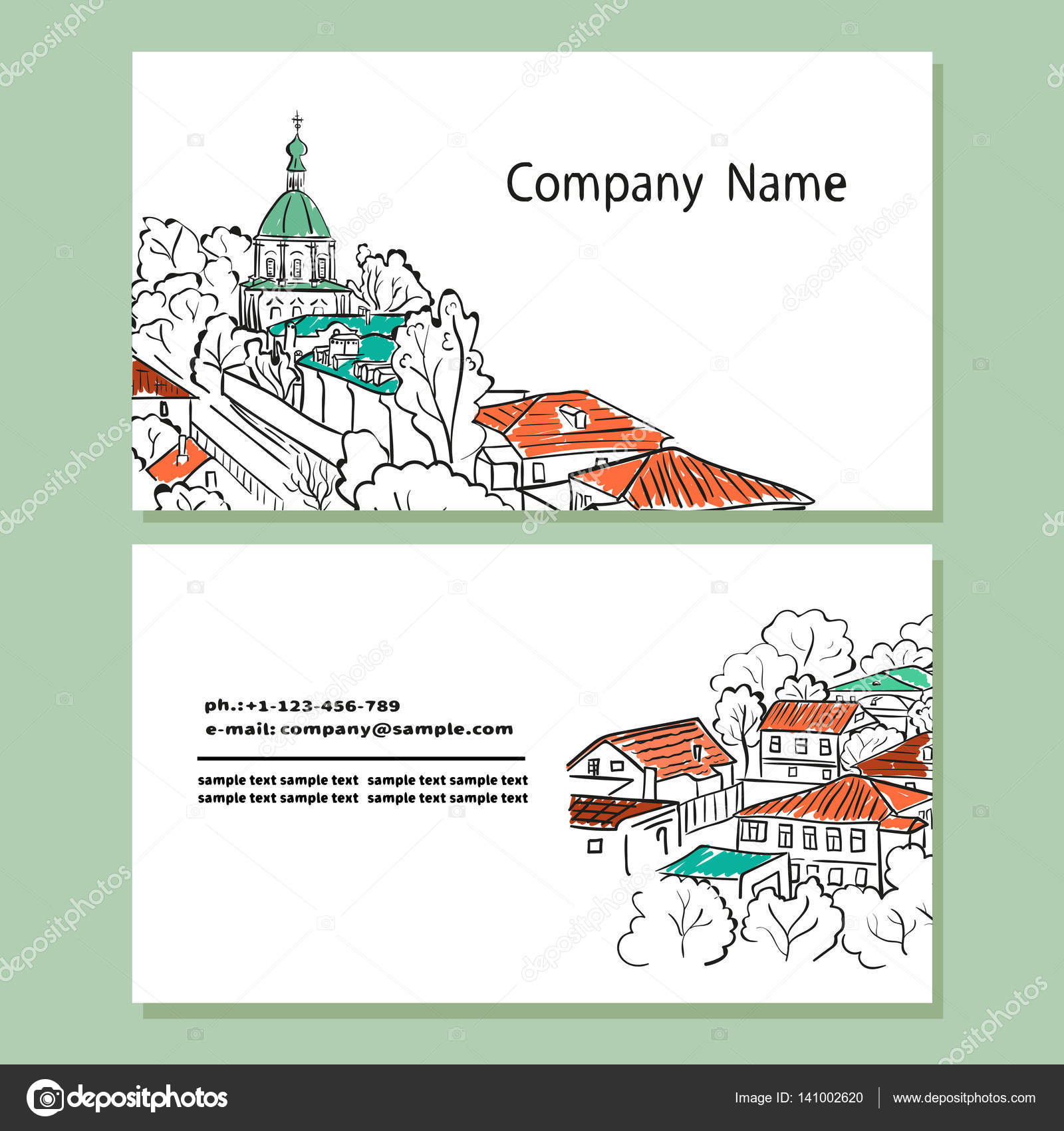 Business Card Design Templates With Sketch Cityscape Stock