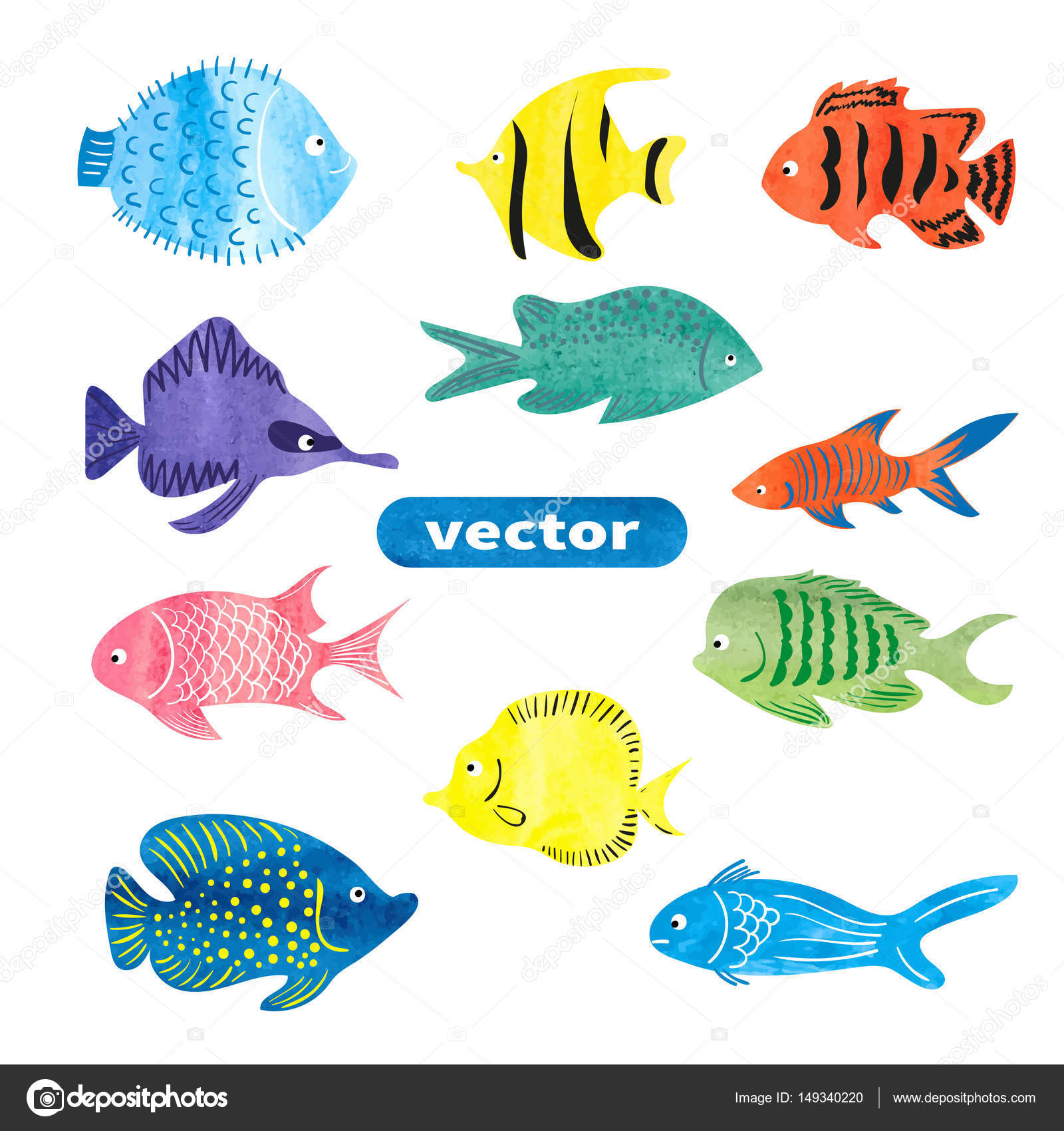 Fish Set Collection Of Colorful Watercolor Sea Fish Isolated On