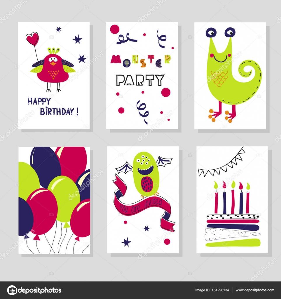 Satz von Geburtstag Karten Vorlagen. Niedlichen Cartoon Monster ...