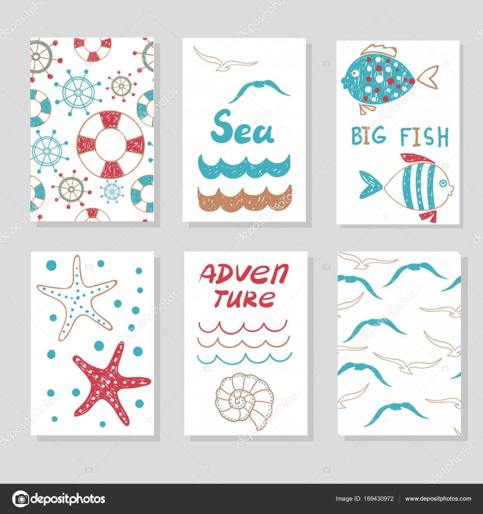 Conjunto de plantillas de tarjetas lindas — Vector de stock ...