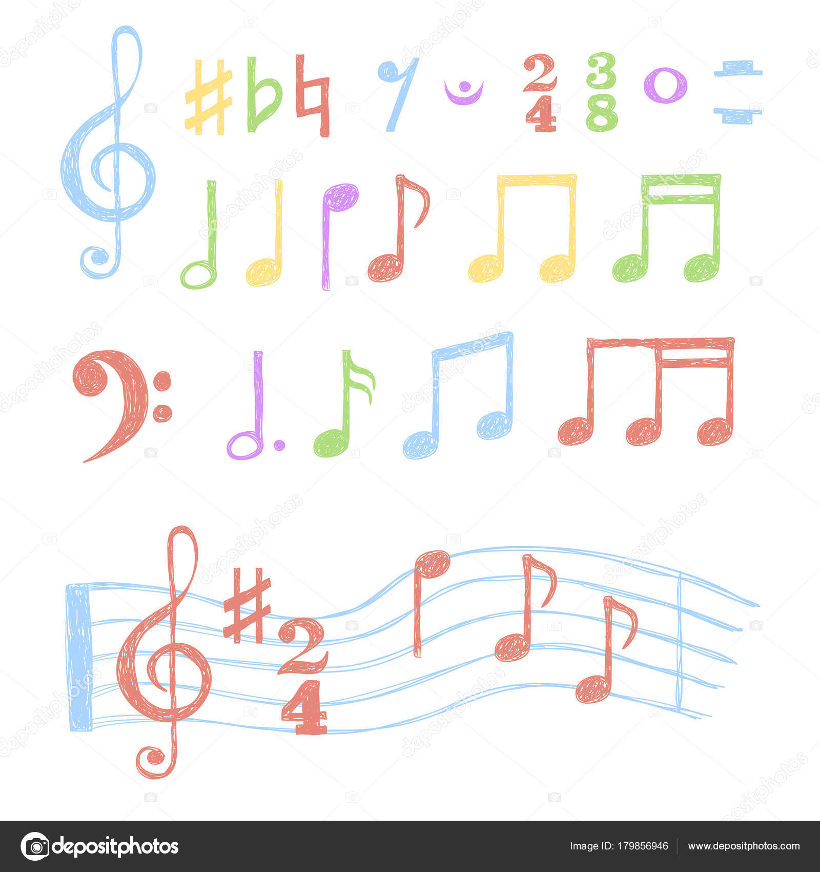 Colorful music notes set collection sketch music symbols isolated colorful music notes set collection sketch music symbols isolated white stock vector buycottarizona Gallery