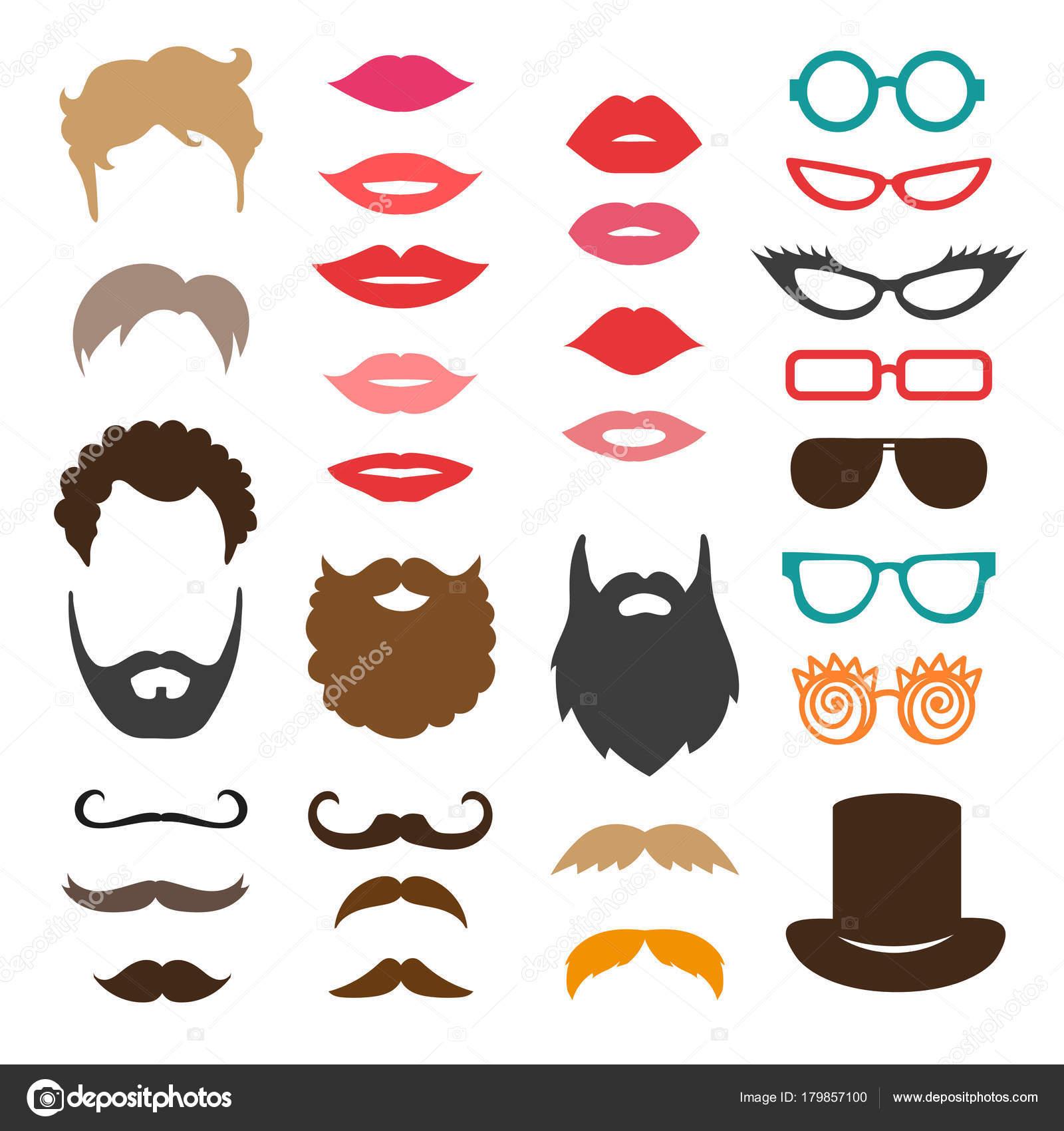 Satz Von Schnurrbart Barte Frisuren Lippen Und Sonnenbrillen