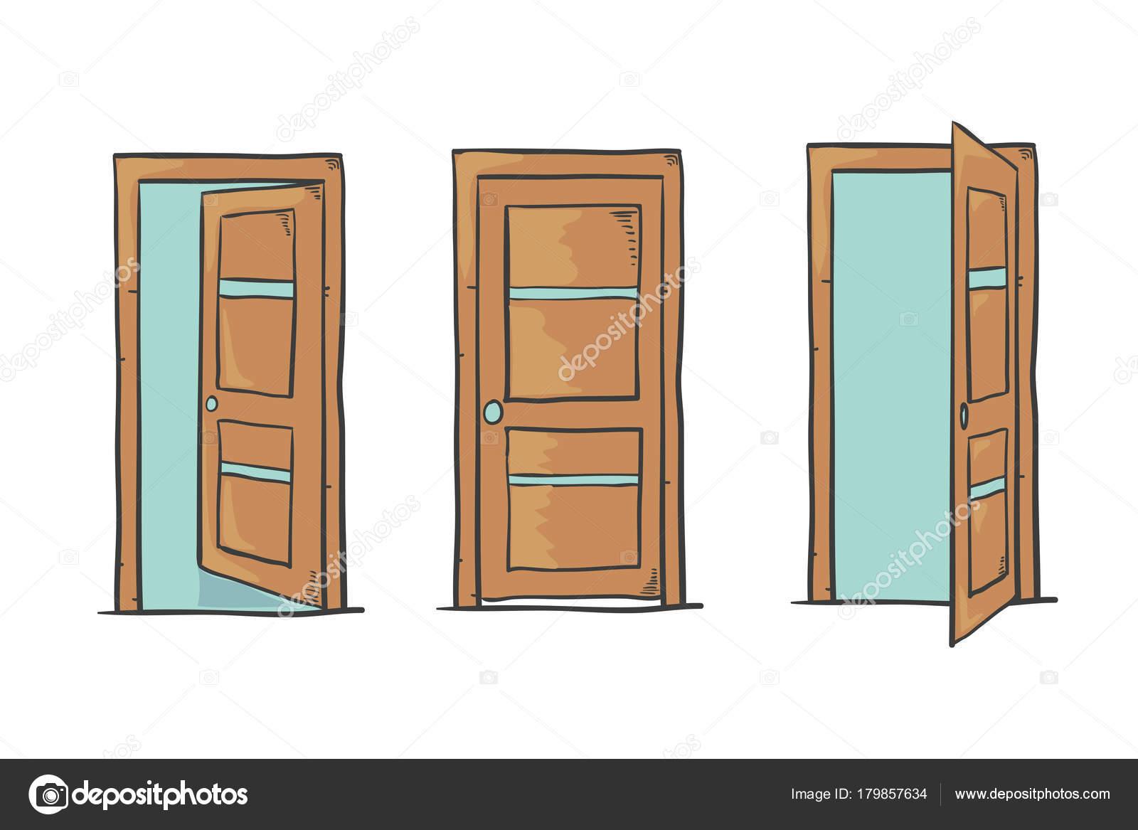 Conjunto Portas Desenhos Animados Fechados Abertos