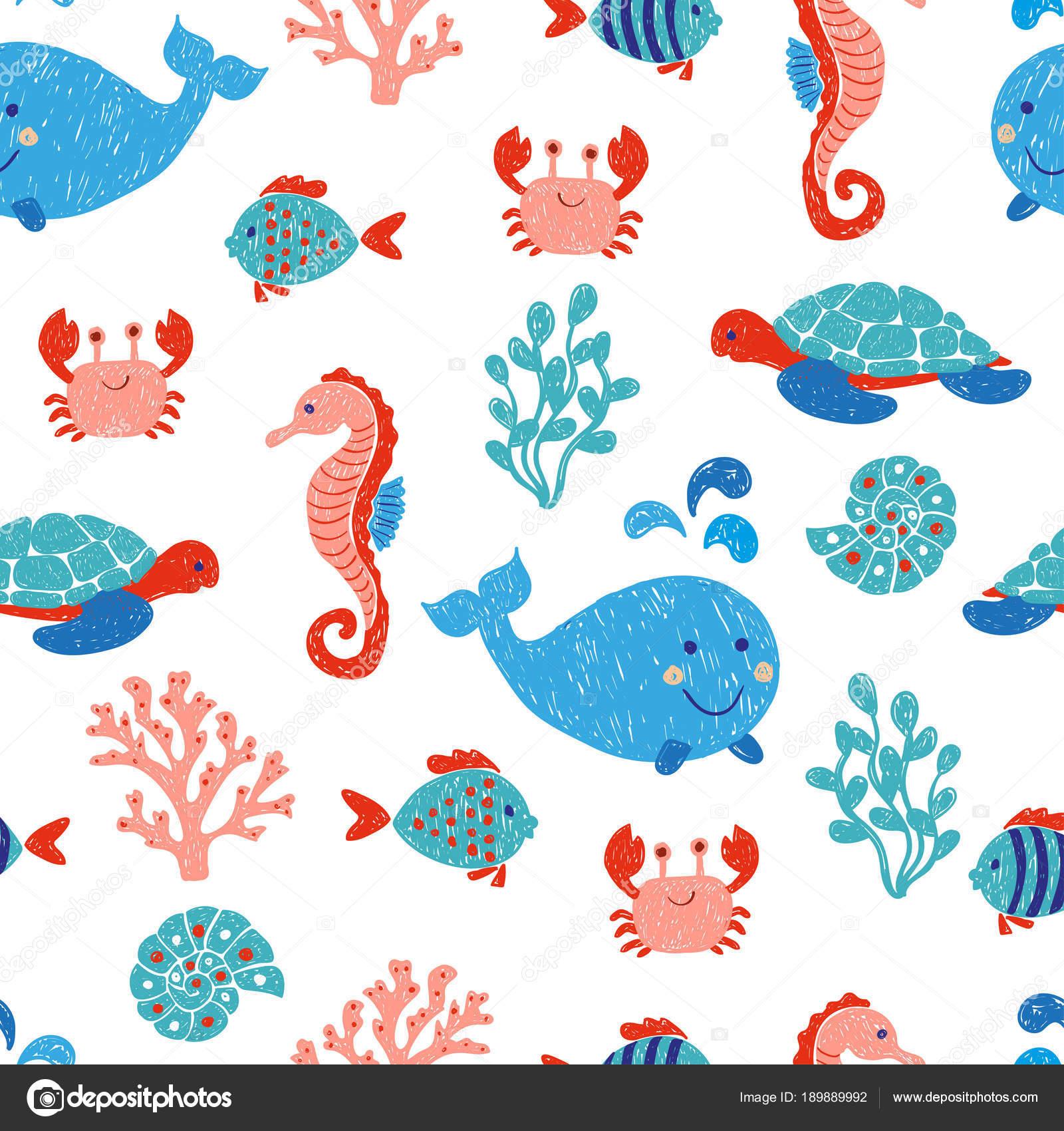 Niedliche Meer Tiere Nahtlose Muster Blau Und Rosa Farben Vektor ...