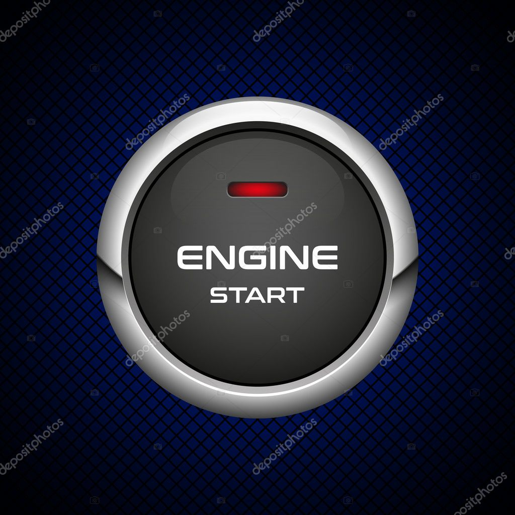 realistic engine start button on dark background stock vector Auto Push Button Start realistic engine start button on dark background stock vector