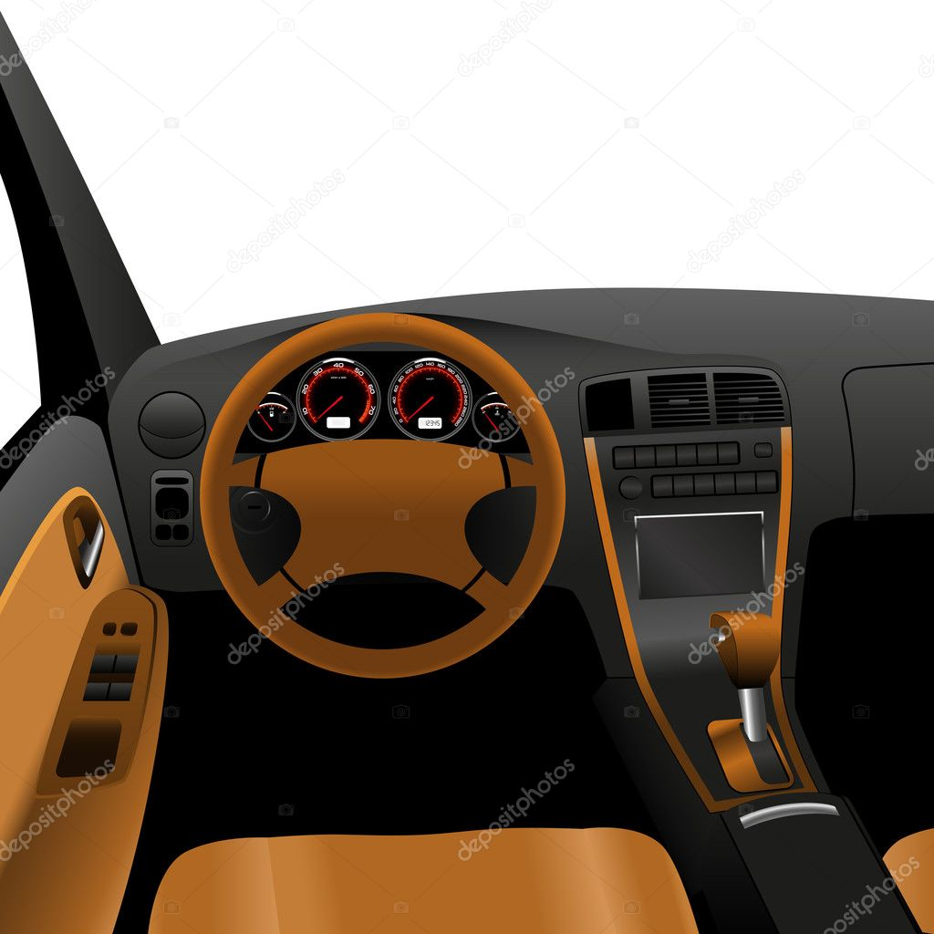 Luxury Car Interior Inside View Of Car Dashboard Stock Vector