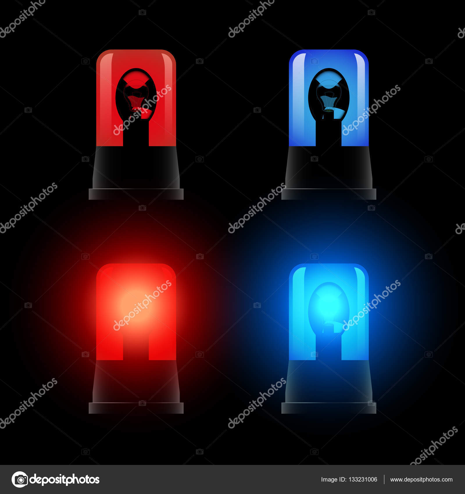 Red And Blue Flashing Lights, Signal Lamp U2014 Stock Vector