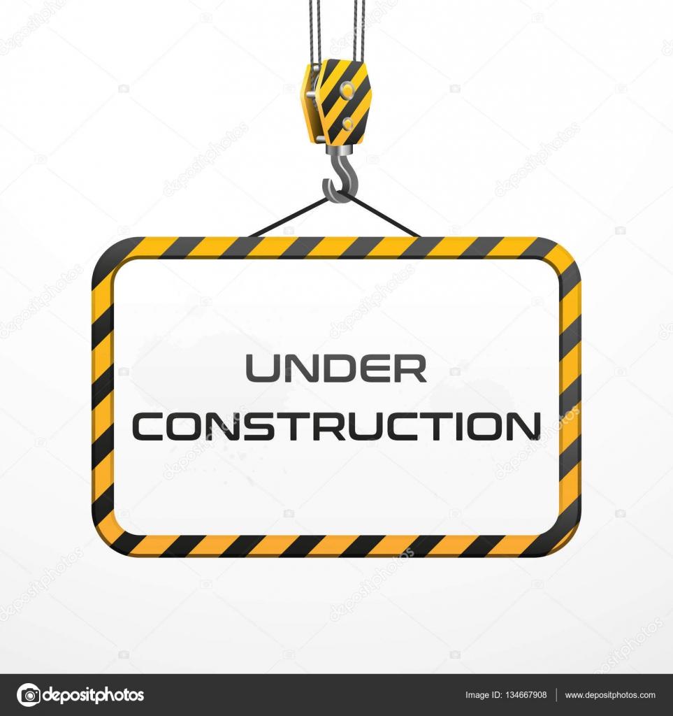 Vector marco bajo construcción con gancho — Vector de stock ...