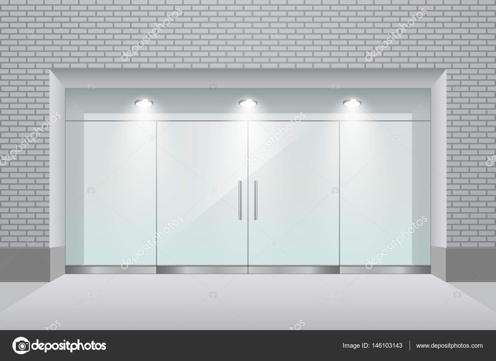 Vetrina con porta a doppia parete e vetro mattone u vettoriali