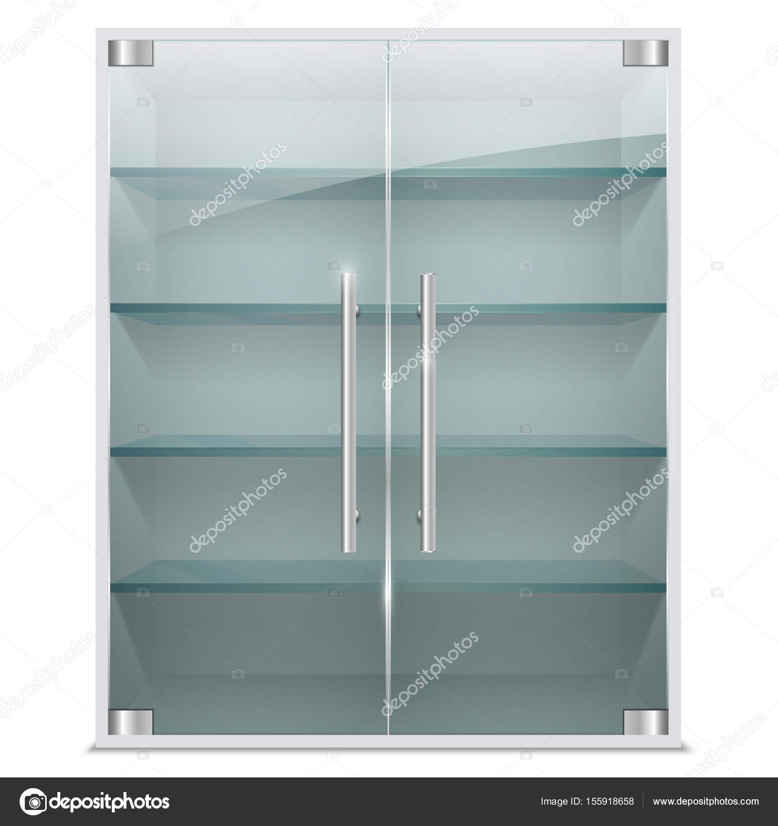 Realista gabinete con puertas de vidrio transparente — Archivo ...