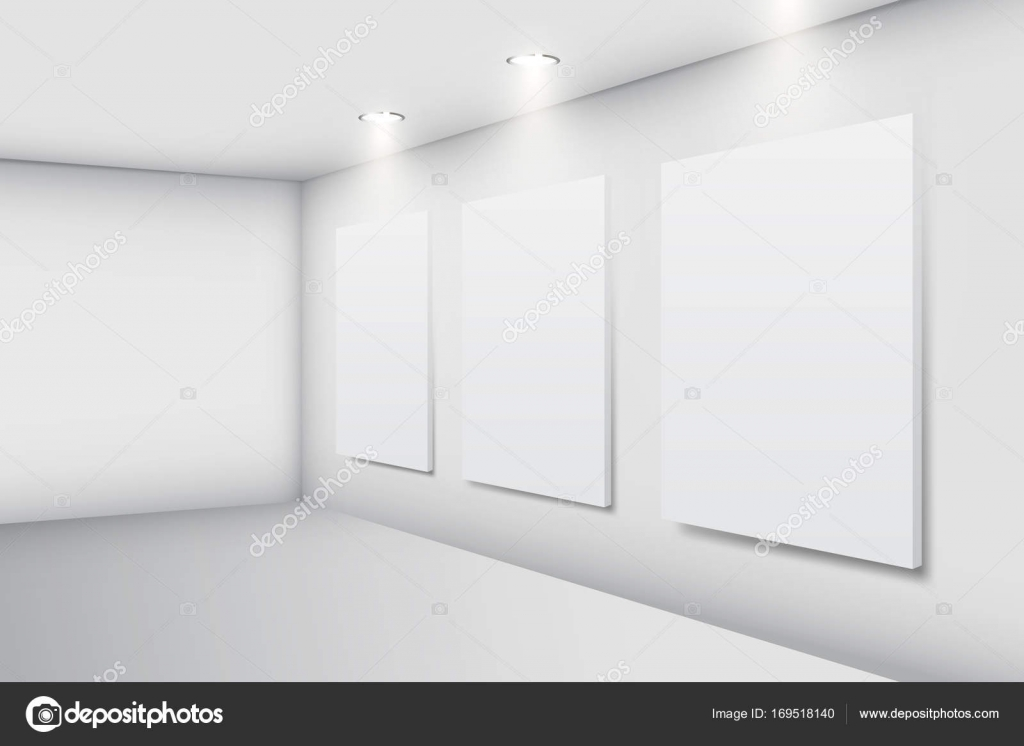 Realistic white gallery interior with empty picture frames — Stock ...