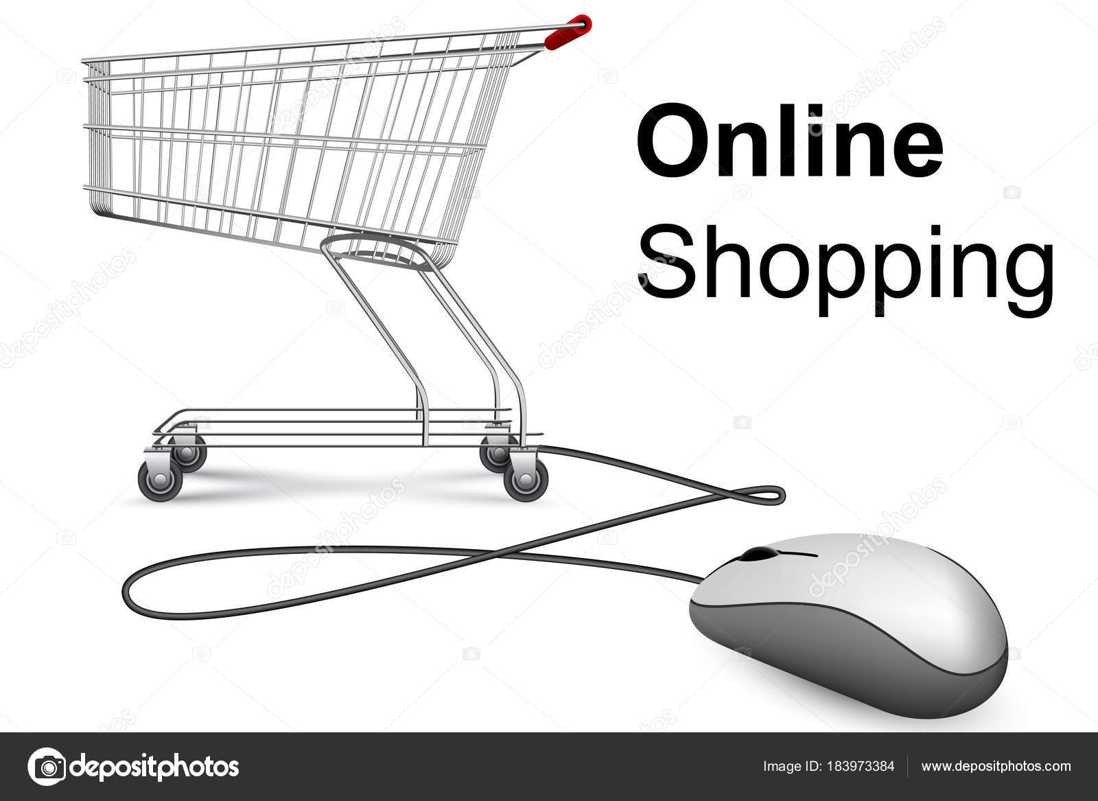 040051972cf Online Shopping Banner Computer Mouse Market Trolley Vector Design — Stock  Vector