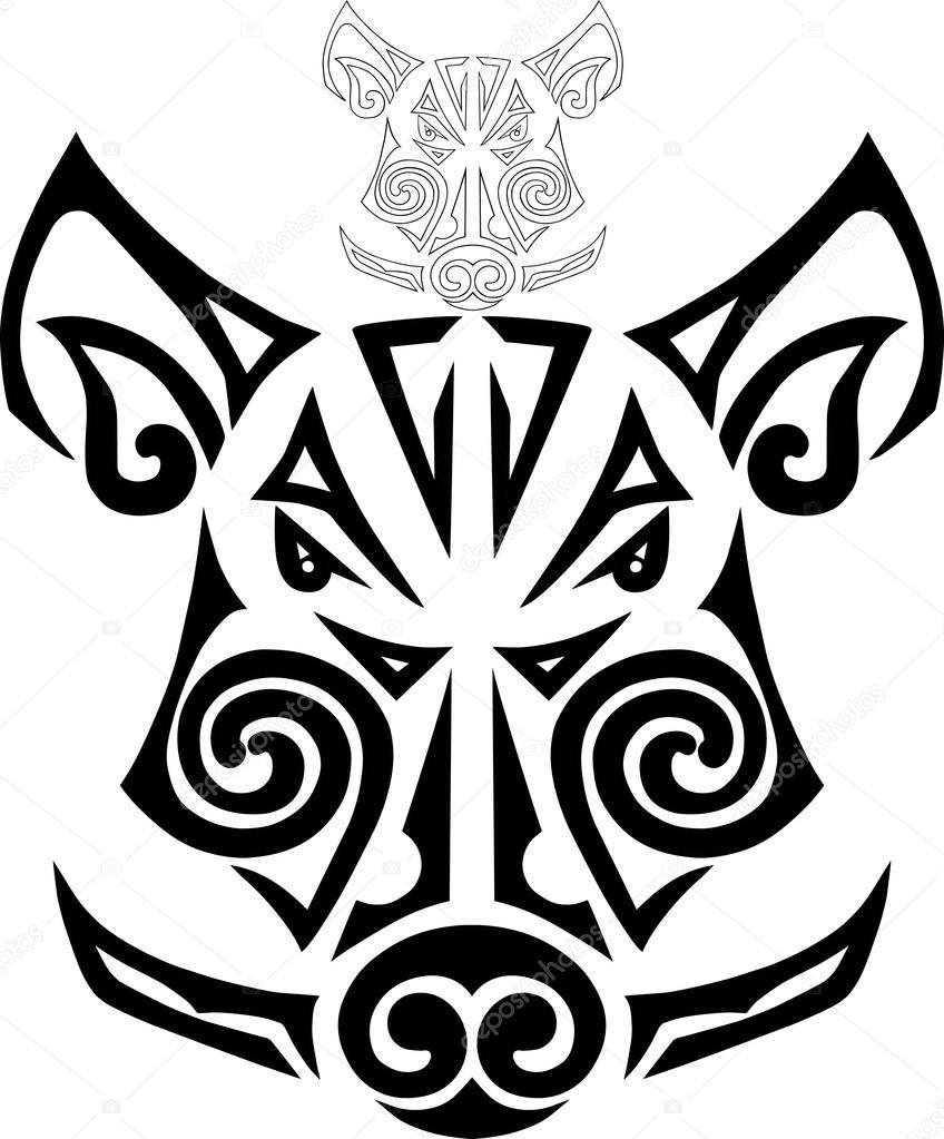 Tribal Boar Head Tattoo
