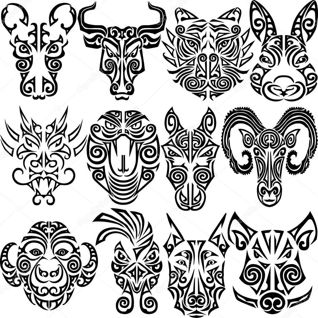 Zodiak Chiński Zestaw Znaków Grafika Wektorowa