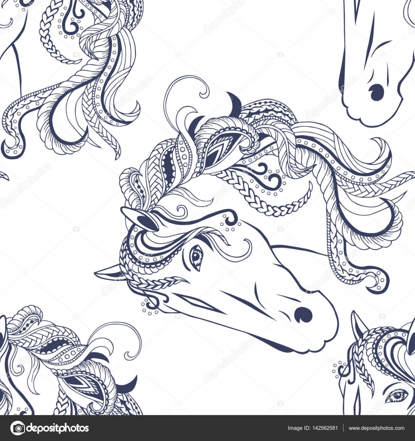 Seamless Pattern With Hand Drawn White Ornate Horse Head Vector Stock Vector C Nataliavarlamova 142562581