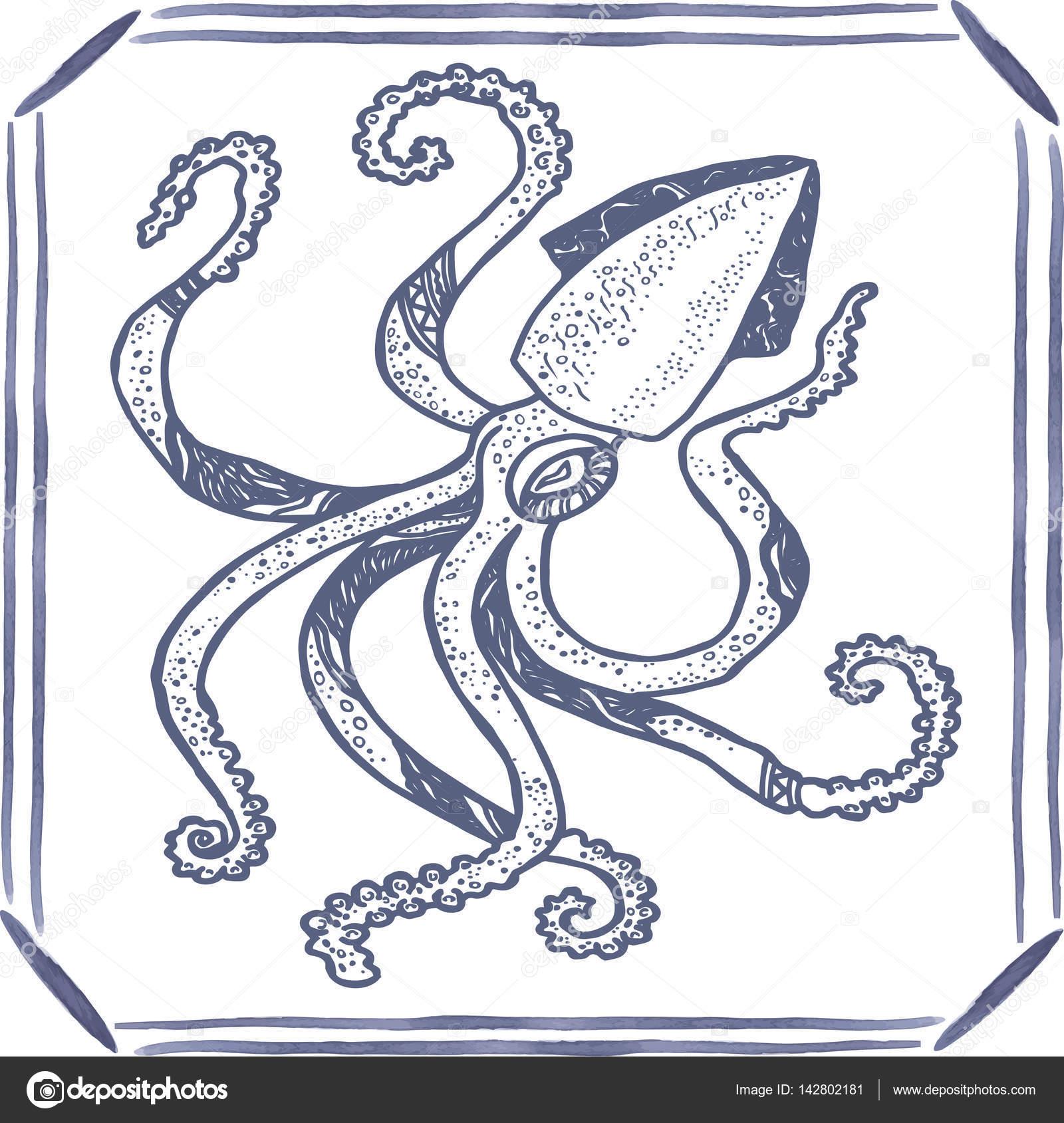 Azulejo con la mano dibujado calamar azul. Vector de — Archivo ...