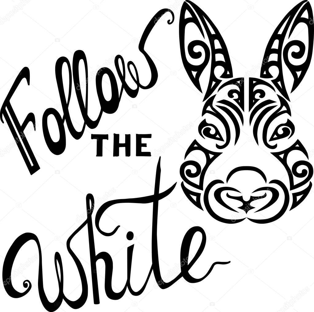 Takip White Rabbit Tavşan Kafası Olan Yazı Stilize Maori Dövme Yüz