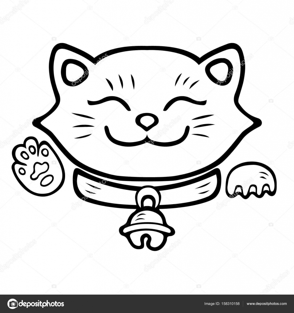 Lindo gato sonriente. Maneki Neko — Vector de stock ...