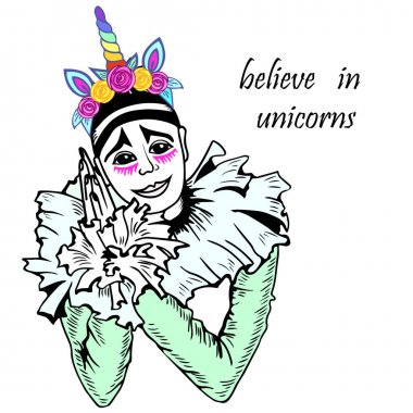Cute Pierrot with unicorn tiara.