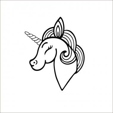 Smiling unicorn contour.