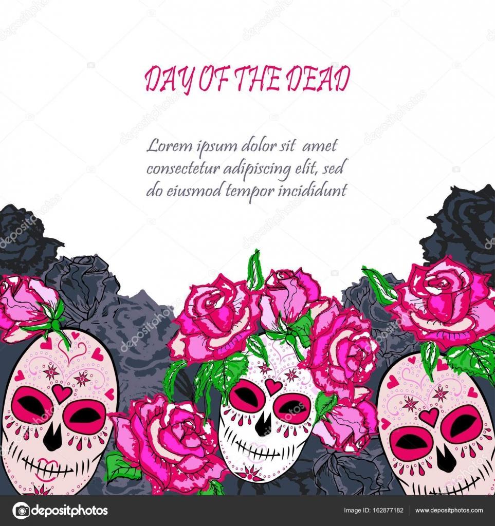 Zucker-Totenkopf mit rosa Rosen Vorlage — Stockvektor ...