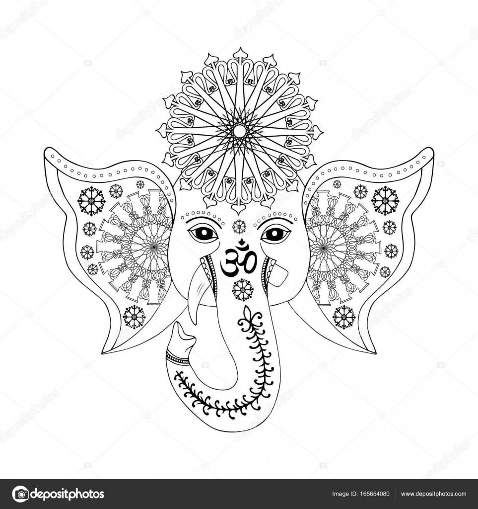 Dios hindú Ganesha cabeza — Archivo Imágenes Vectoriales ...