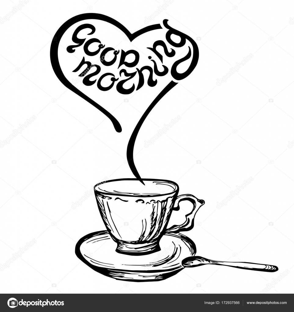 Good Morning Quote With Hand Drawn Cup. Hand Drawn Lettering Vector  Illustration. Banner, Poster, Web, Menu, Coffee Shop, Card Template. Design  Element.