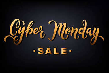 Cyber Monday sale hand drawn lettering