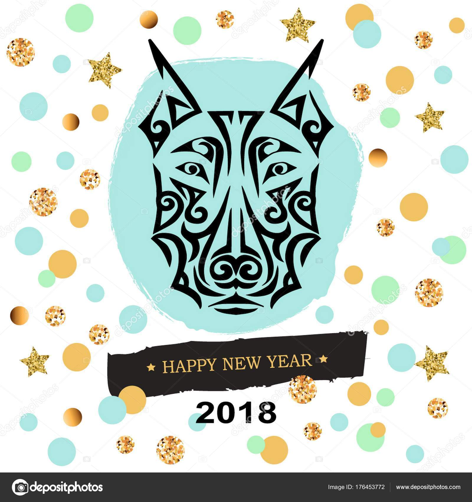 2018 New Year Card Black Doberman Dog Head Stylized Maori