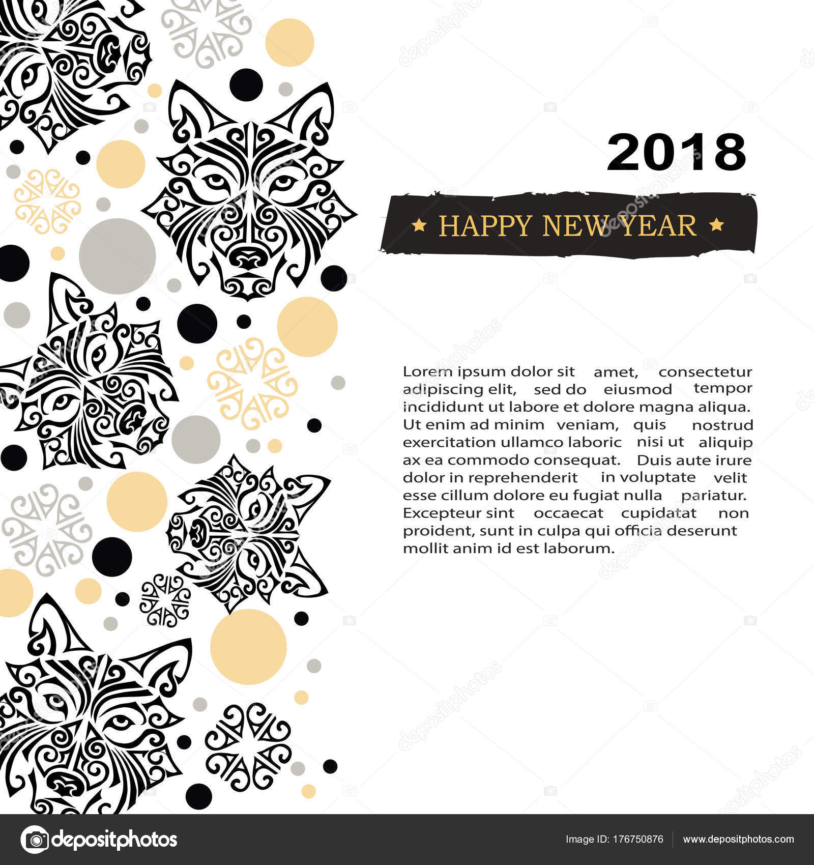 2018 new year card with black husky dogs head stylized maori face tattoo template for invitation fashion shop tattoo studio oriental concept