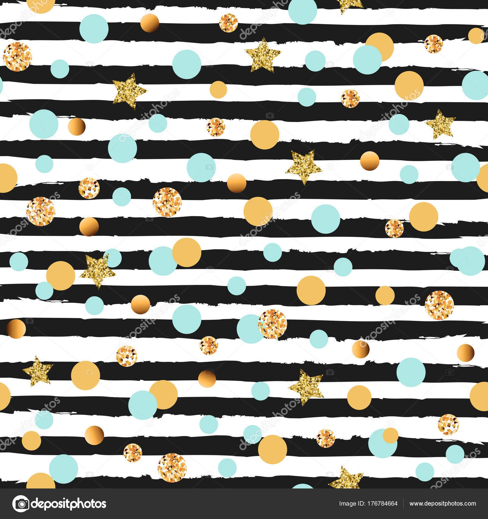 Cute Seamless Pattern Blue Golden Circles Stars Black White Stripes Stock Vector C Nataliavarlamova 176784664