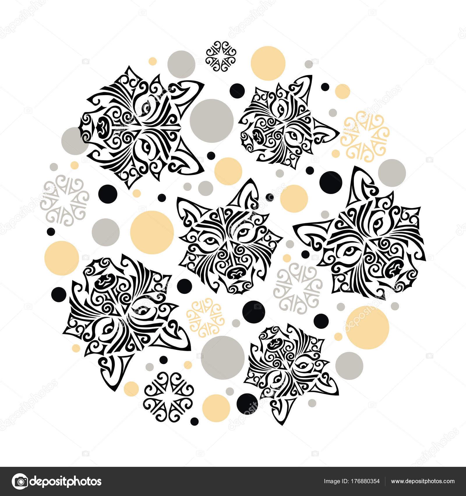 Concetto Cerchio Con Testa Cane Husky Stilizzato Viso Maori