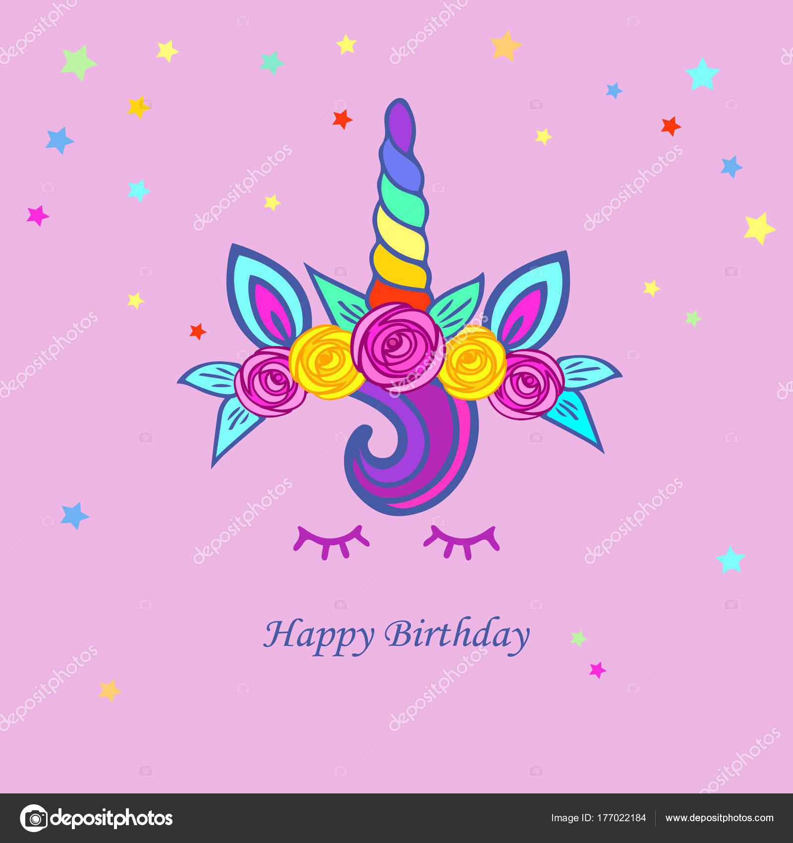 Cute Illustration Unicorn Tiara Rainbow Horn Floweres Template Party ...