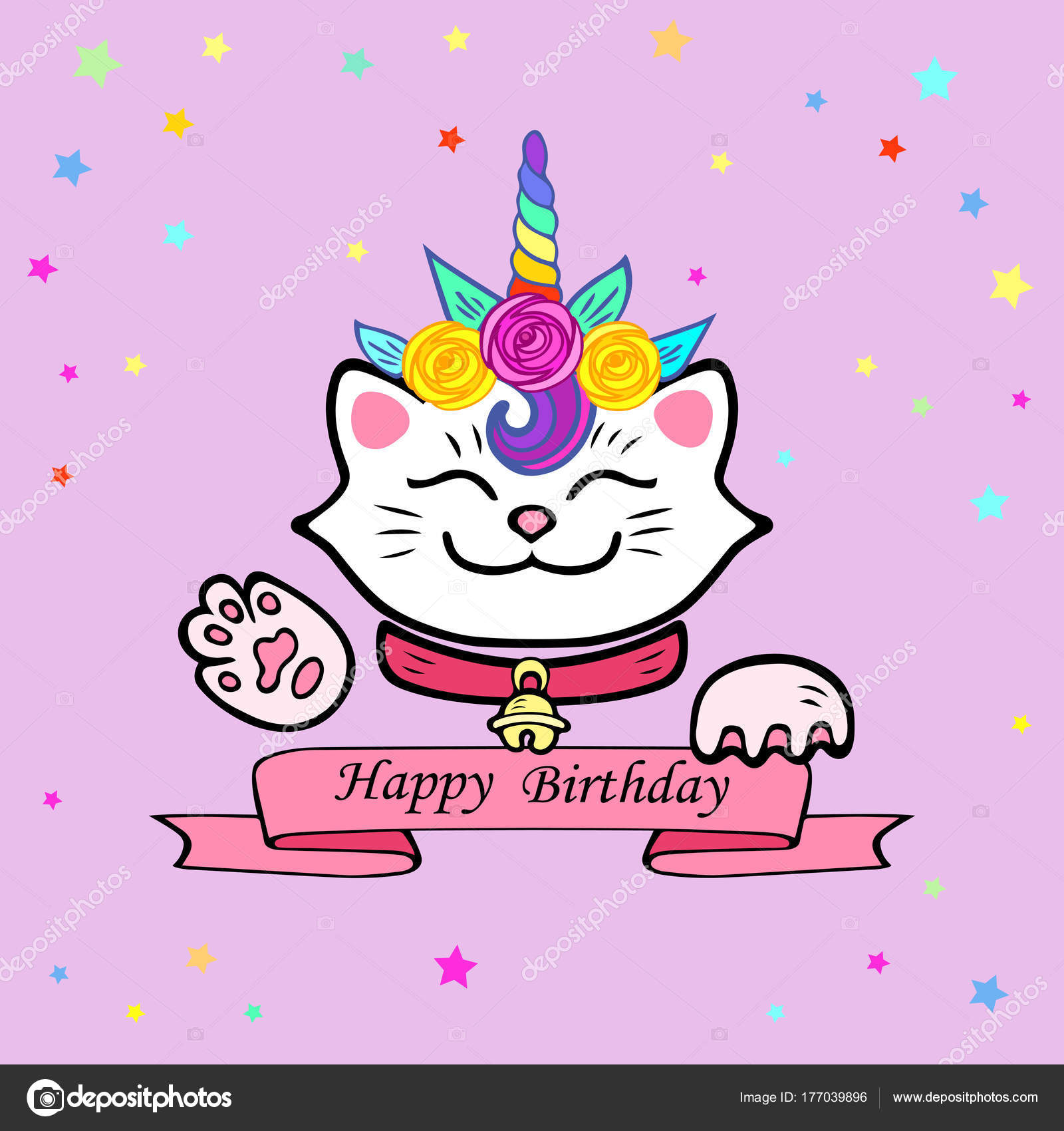 Cute Happy Birthday Card Cat Unicorn Tiara Vector Illustration Party ...
