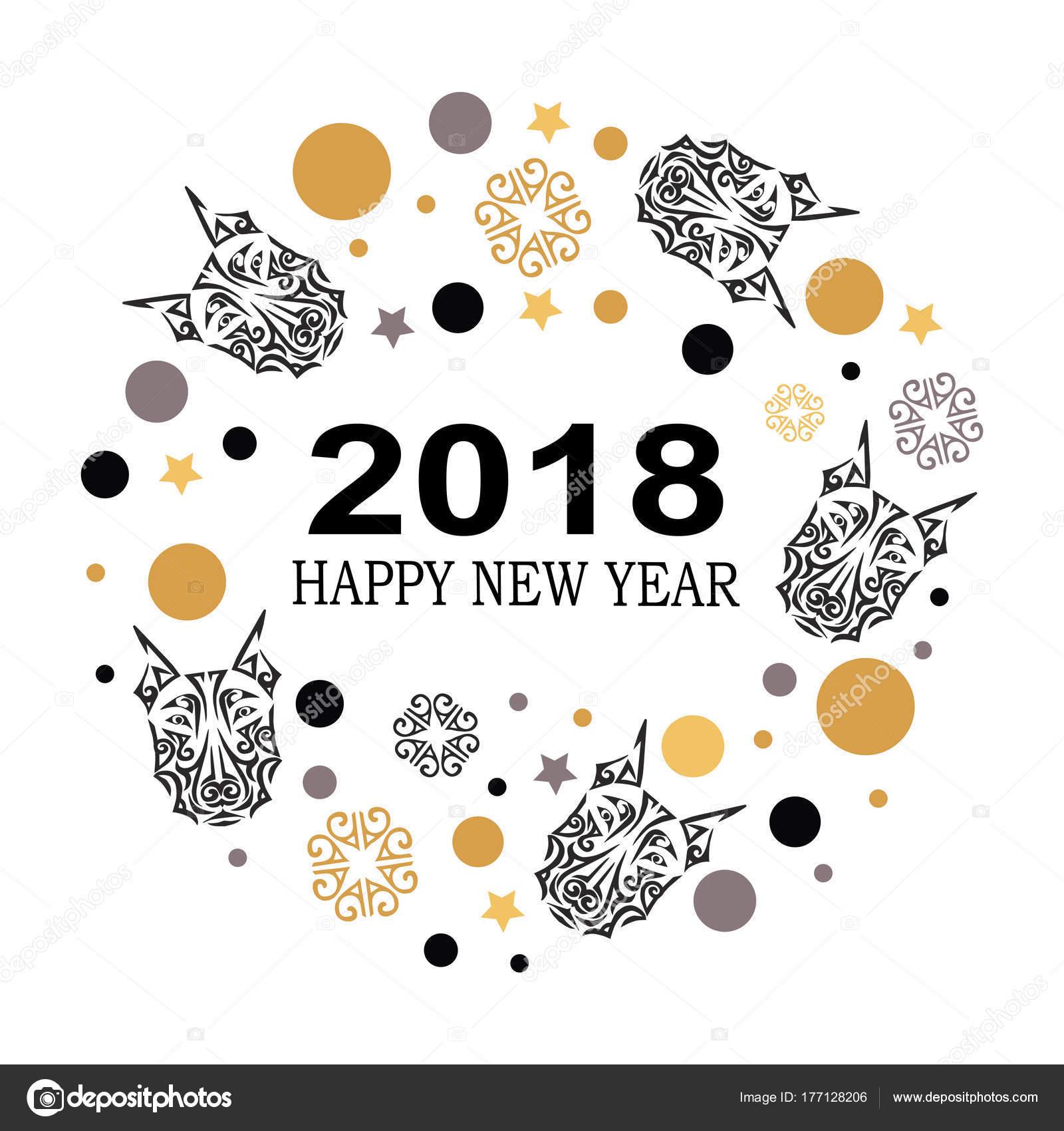 2018 new year card doberman dog head template invitation fashion stock vector