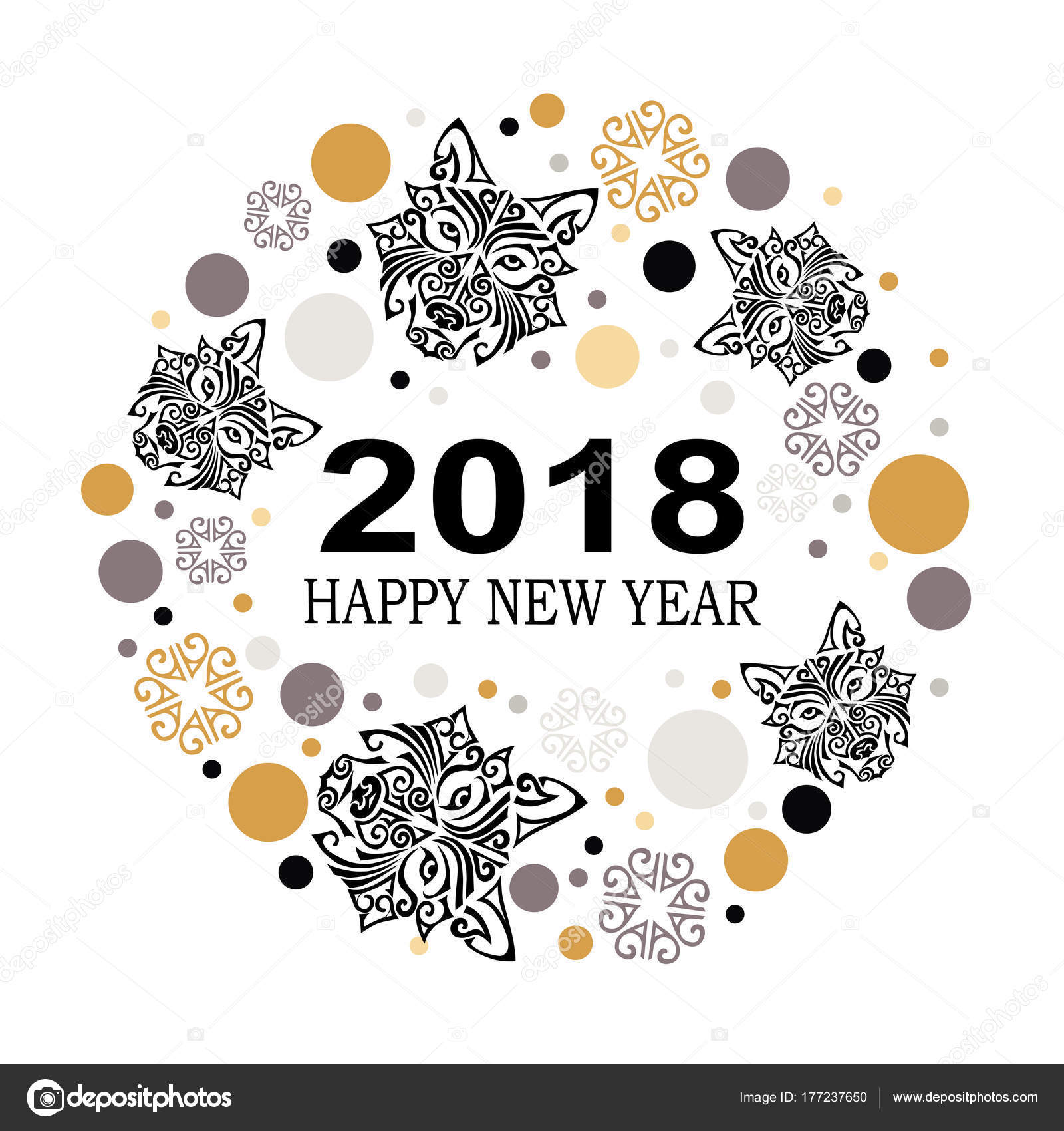 2018 new year card husky dog head template invitation fashion stock vector