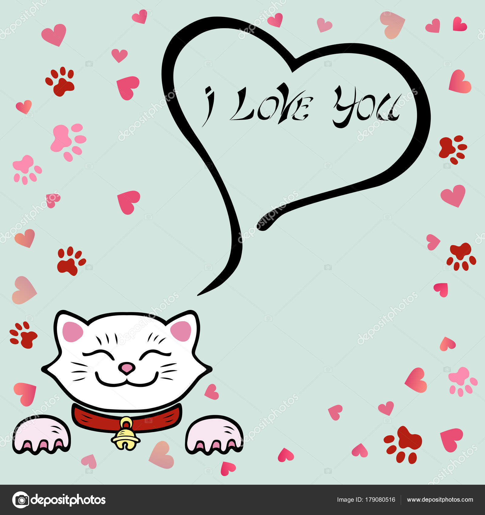 Cute love you card white cat template valentine day invitation cute i love you card with white cat template for st valentines dayinvitationpartymother daybirthdaybaby birthgreetings card m4hsunfo