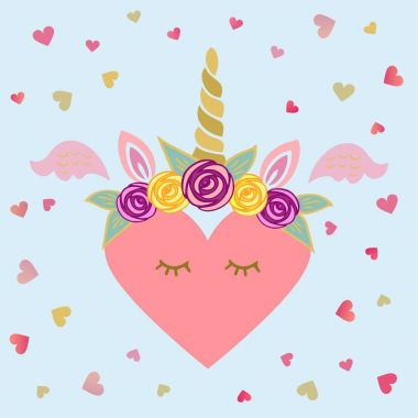 Cute vector illustration with Unicorn tiara and horn, pink wings, sweet heart. Template for St. Valentine's Day/invitation/party/Mother day/birthday/baby birth/greetings card.