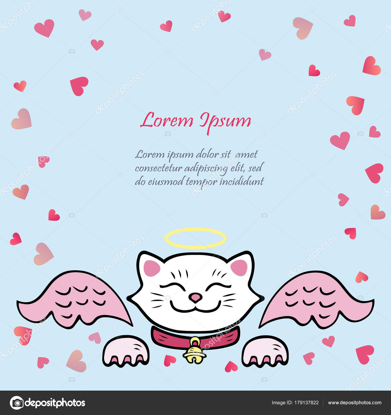 Cute Card White Cat Pink Angel Wings Template Valentine Day Stock