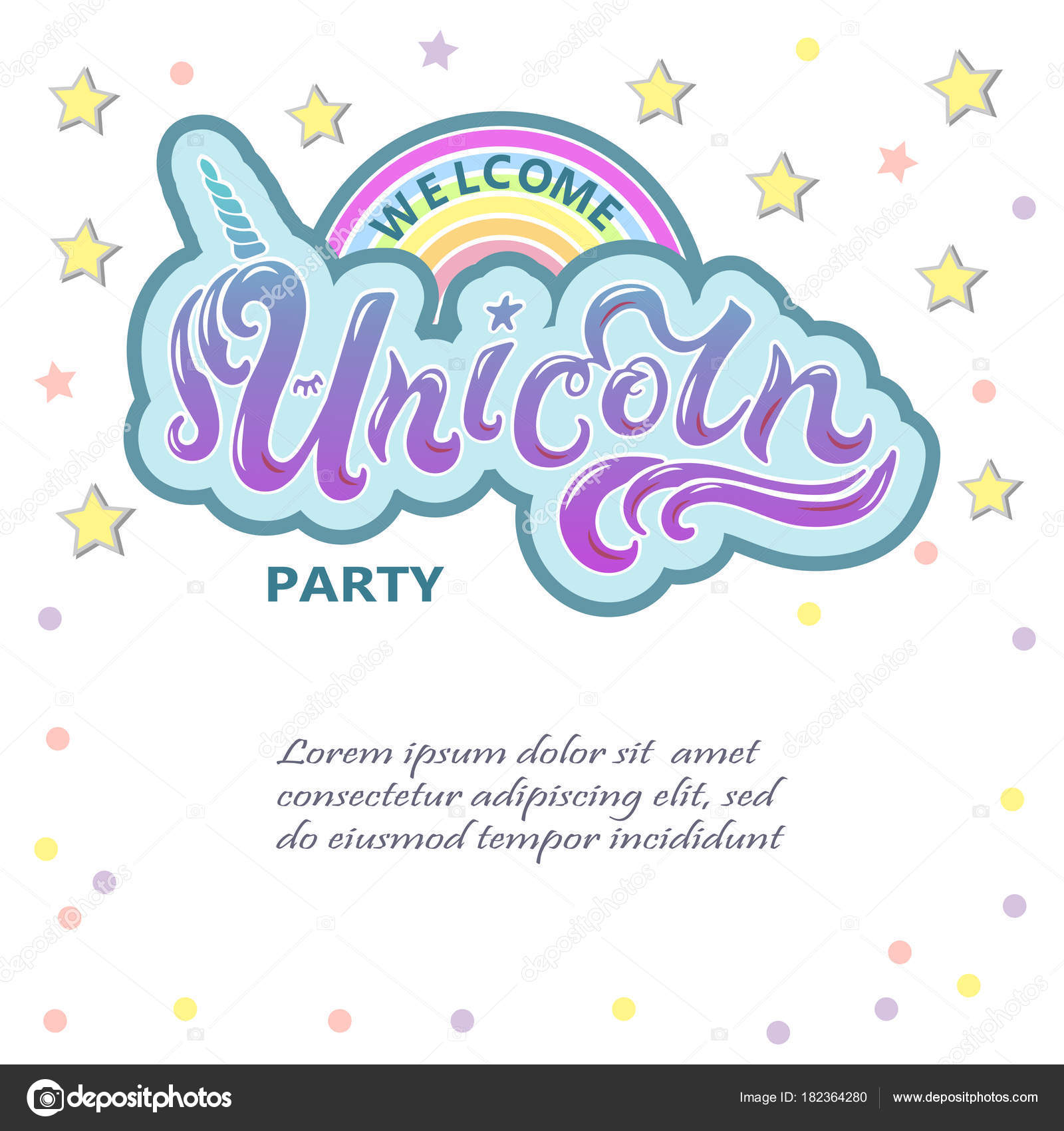 Fiesta Bienvenida Unicornio Letras Como Logo Insignia Parche