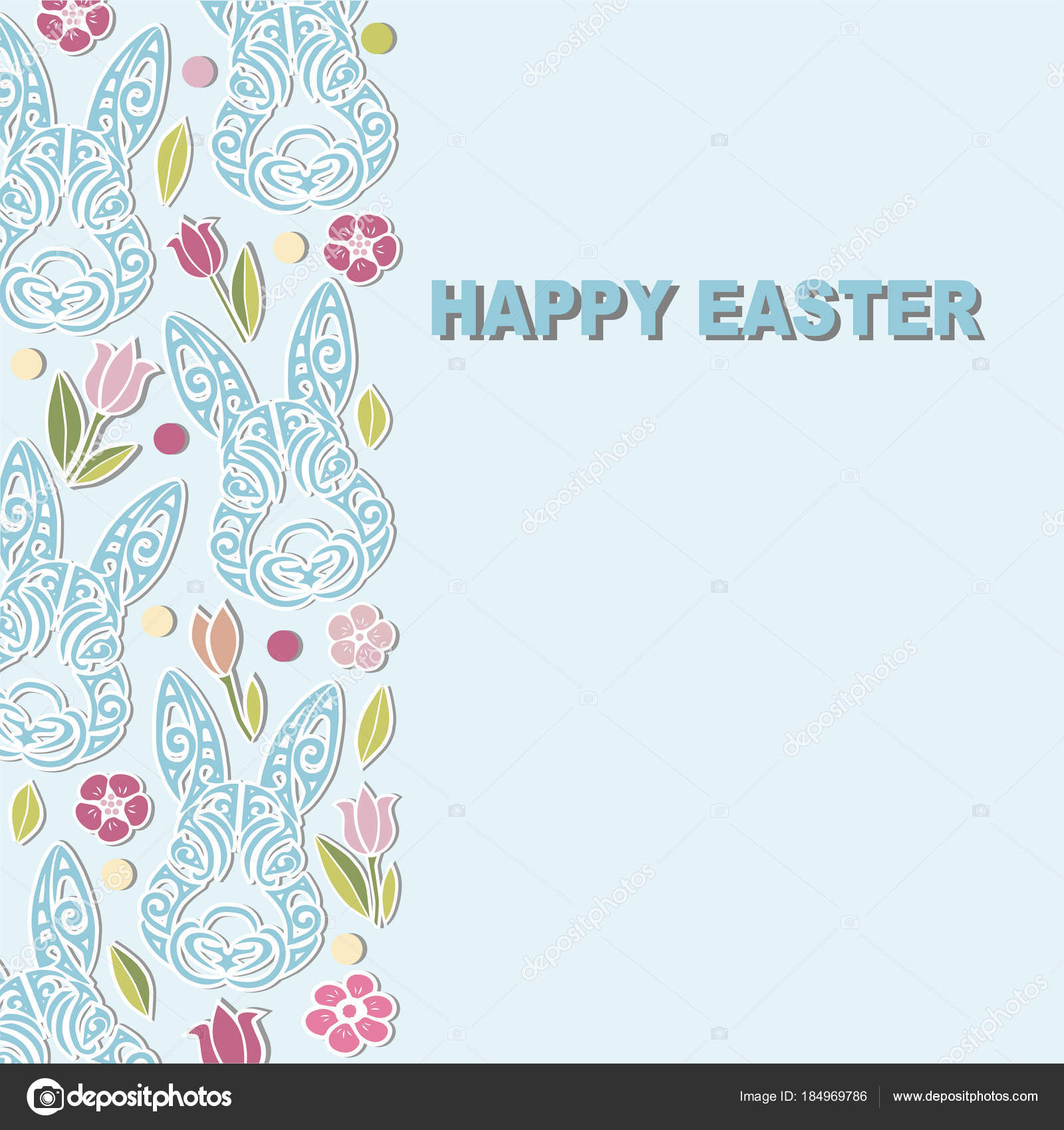 Template Bunny Head Flowers Happy Easter Day Party Invitation ...