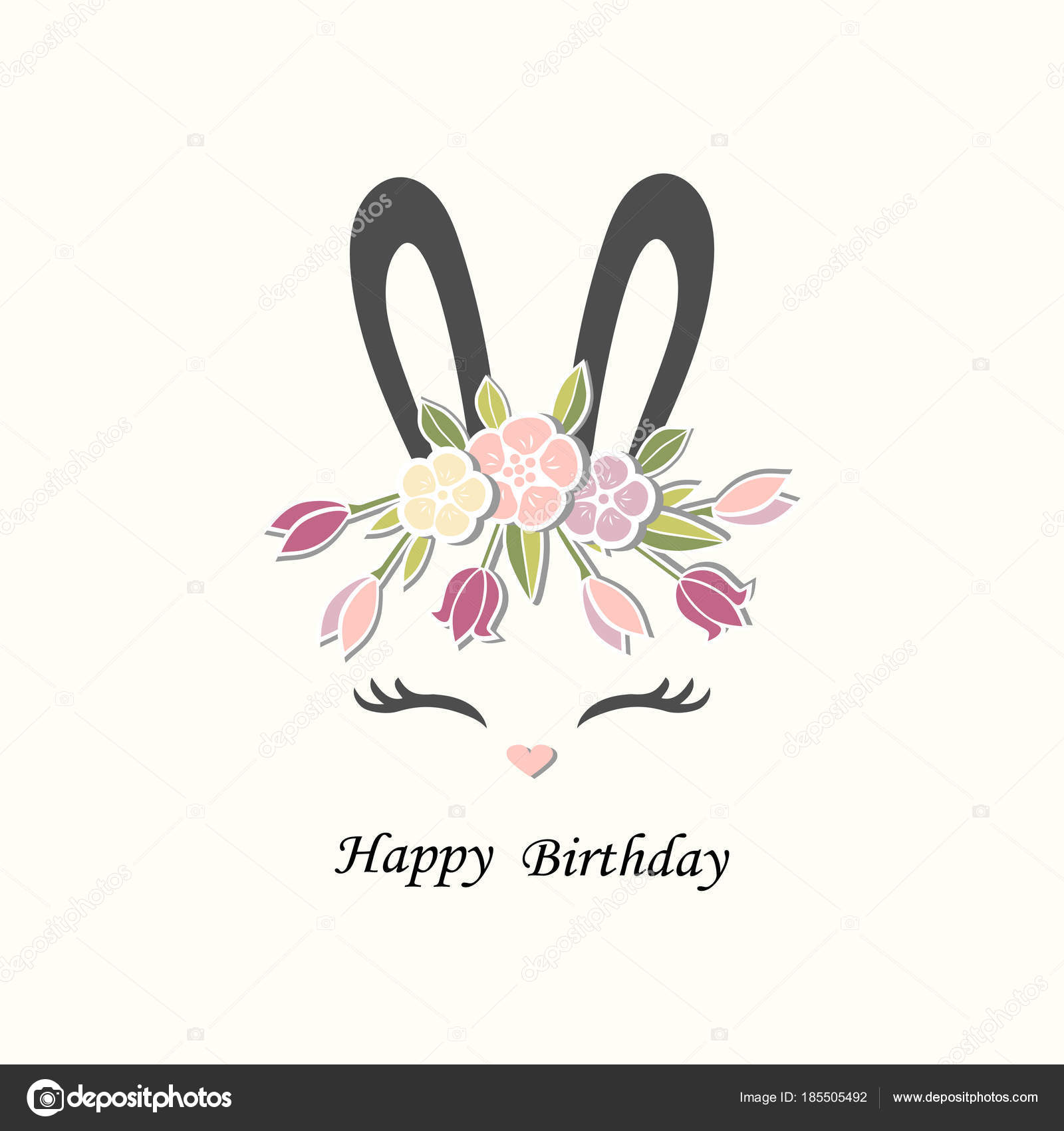 Vector Illustration Bunny Ears Smiling Eyes Floral Wreath Cute