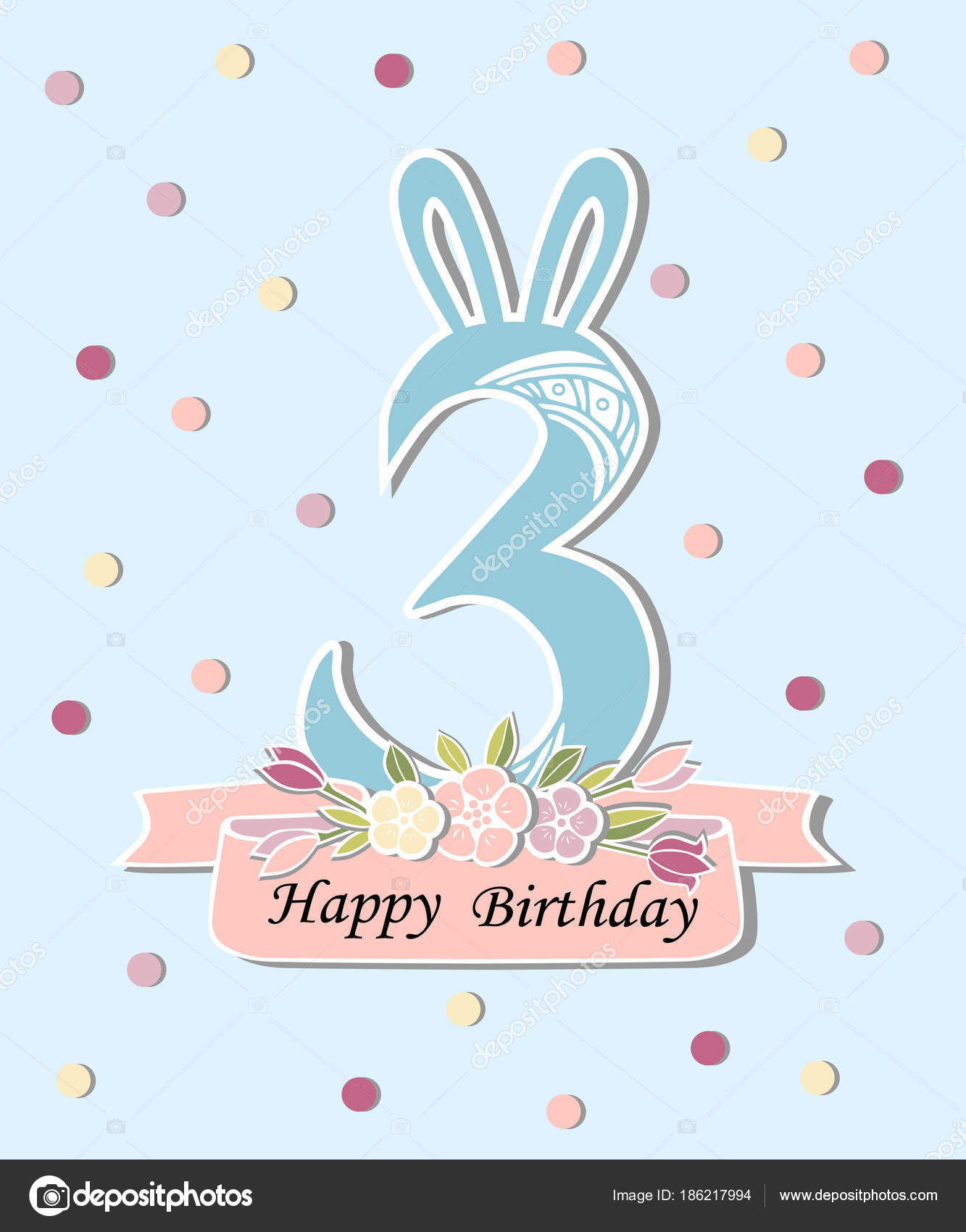 vector illustration number three bunny ears floral wreath template