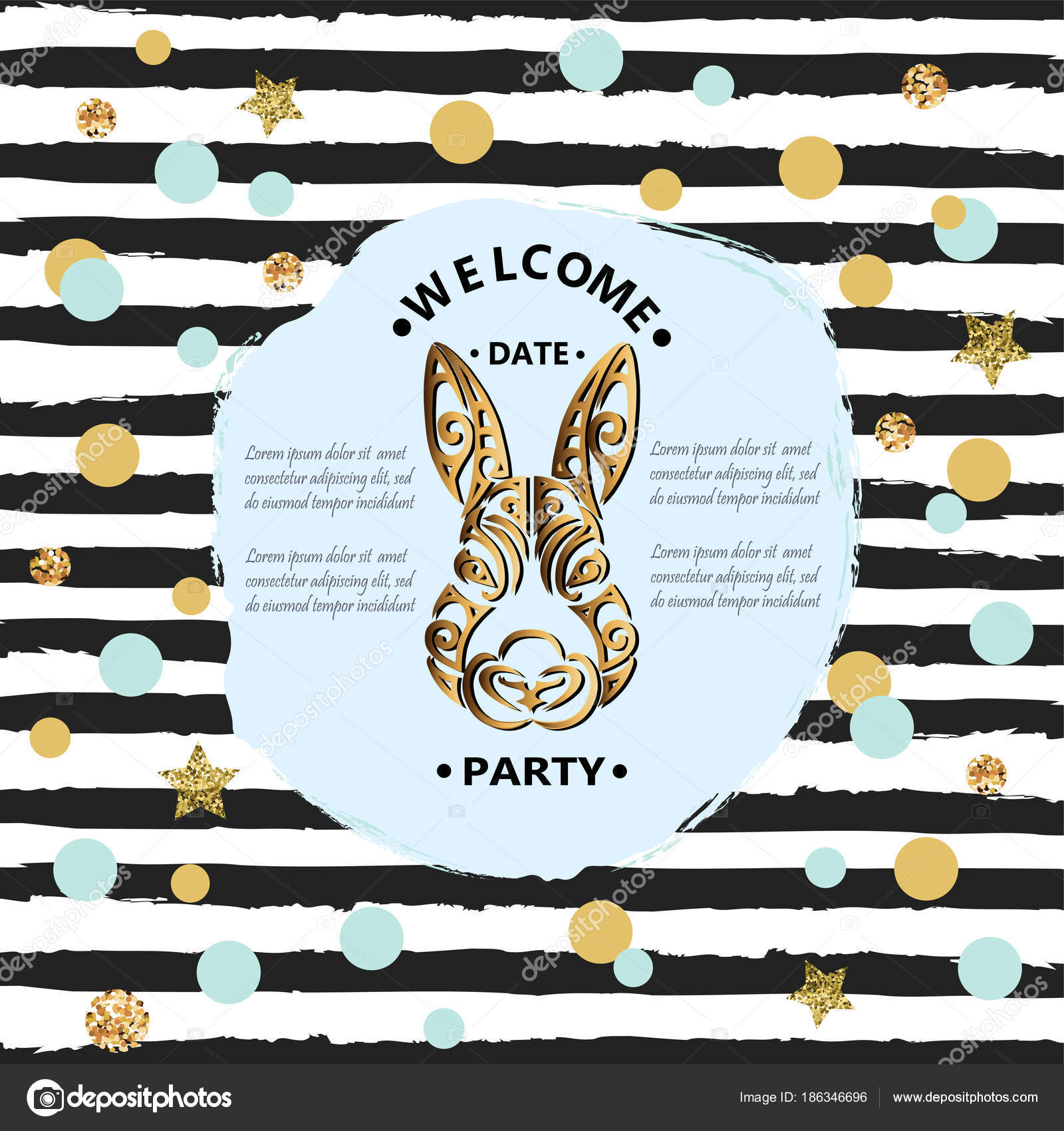 Template Bunny Head Isolated Striped Background Rabbit Head Baby ...