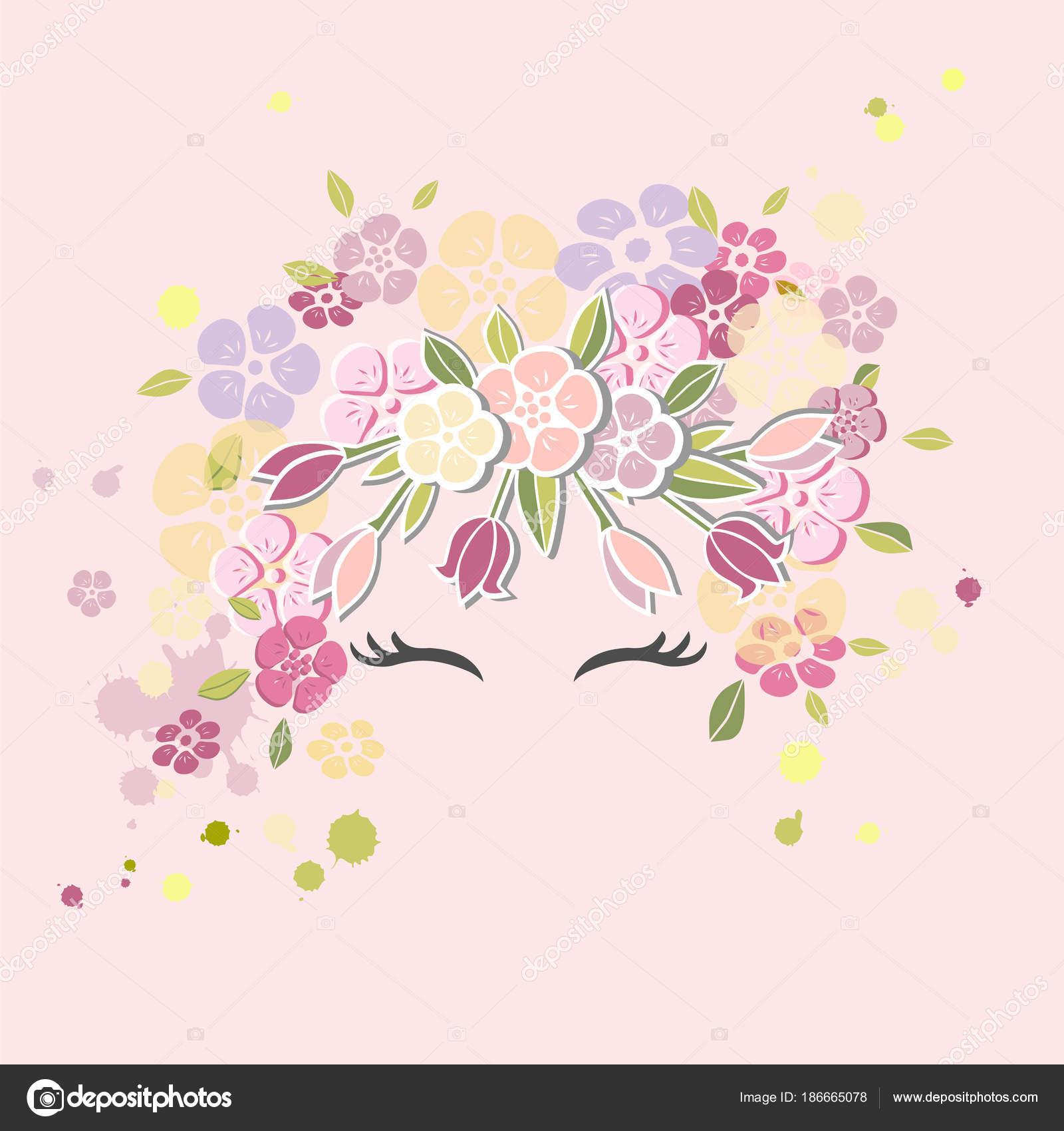 女の子の笑顔と花の花輪を持つベクトル イラスト 暖かい季節はがき 女性