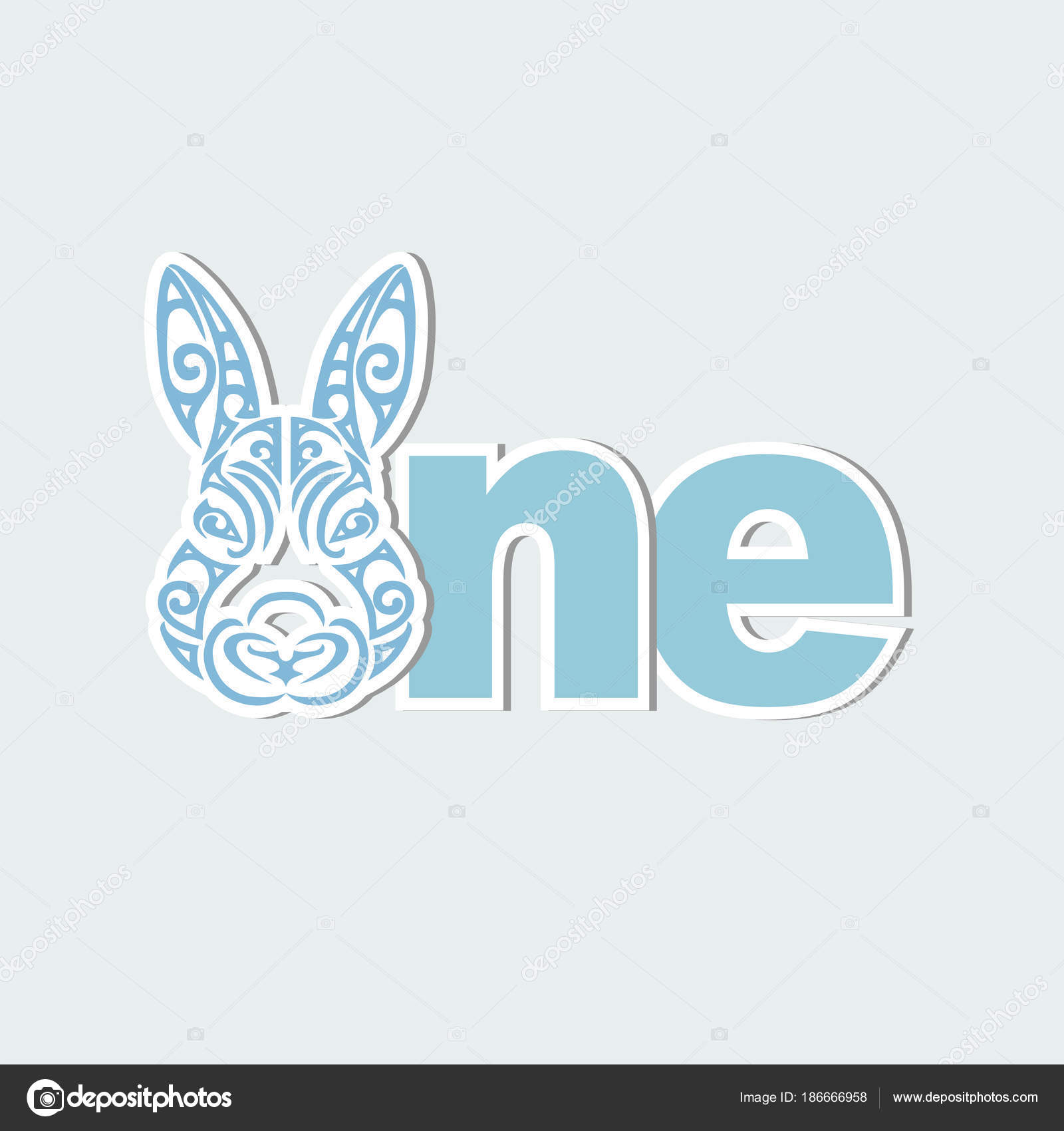 Vector Illustration One Bunny Head Template Baby Birthday Party ...